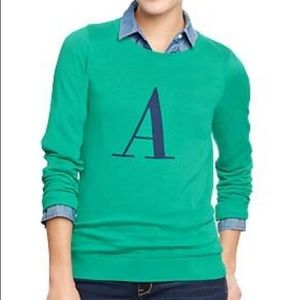 """OLD NAVY Letter """"A"""" green sweater szM"""